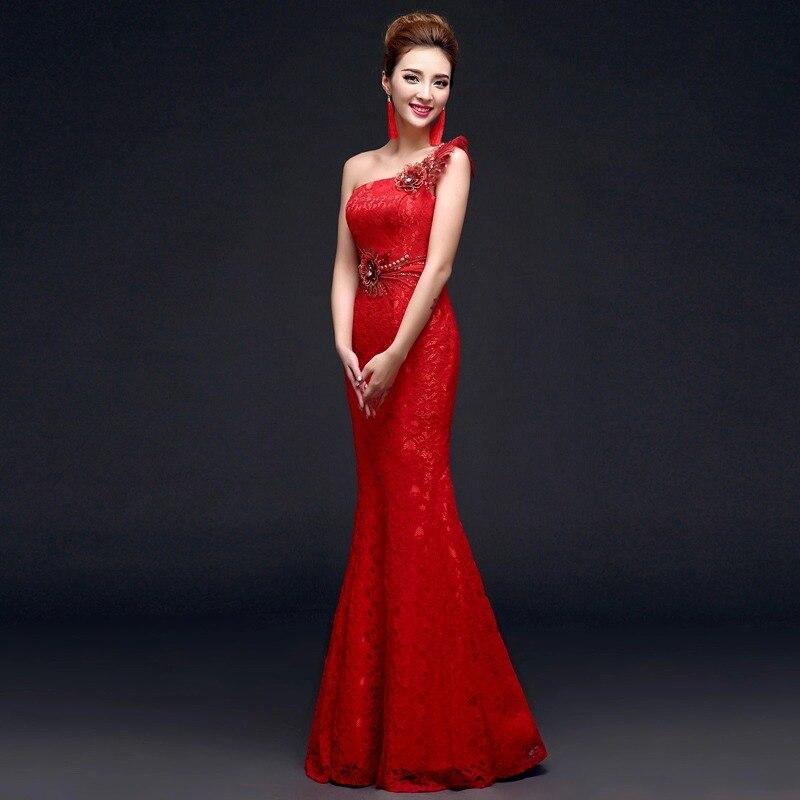 Kinesiske røde kvinner cheongsam kjoler slash stroppeløs havfrue - Nasjonale klær - Bilde 3
