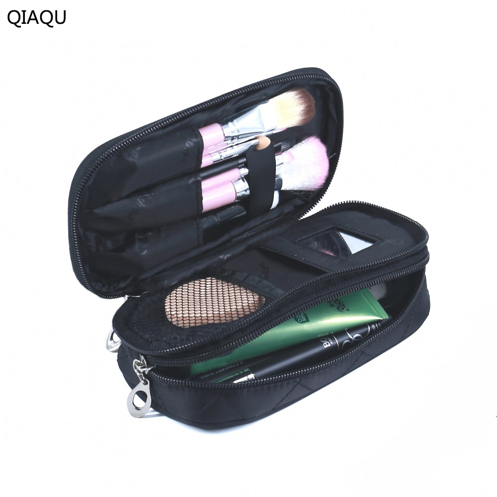 QIAQU Small Cosmetic Bags Makeup Bag Women Travel Organizer Professional Storage Brush Necessaries Make Up Case Beauty