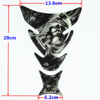 30PCS Free Shipping Decale Harley QJC0236 Motorcycle Skull Tank Pad Protector Sticker Carbon Fiber wholesale