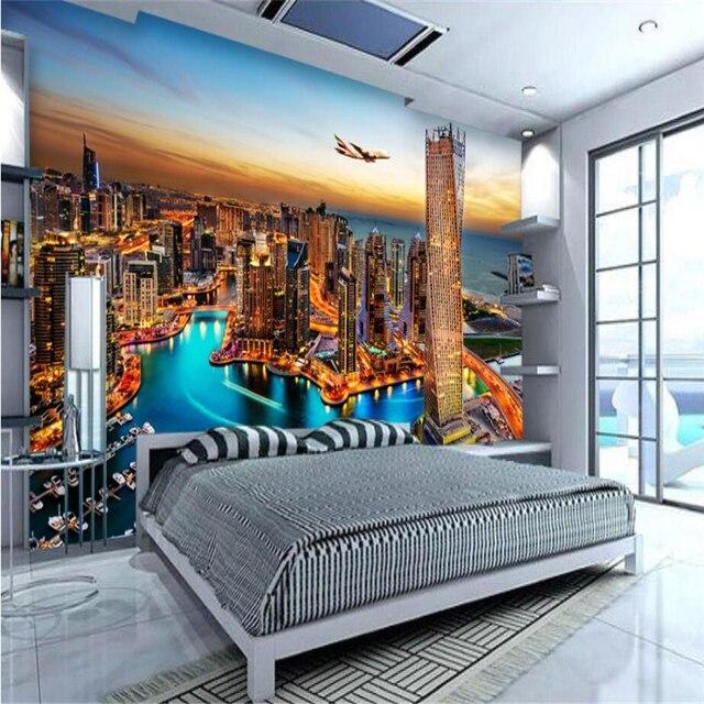 Beibehang Personalizzato 3d carta da parati Dubai night view TV ...