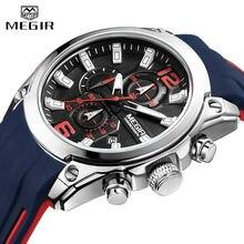 2020 MEGIR Watch Top Brand Mens Watches with Chronograph Waterproof Silicone Sport Wristwatch Men Watch Analog Quartz Relogio