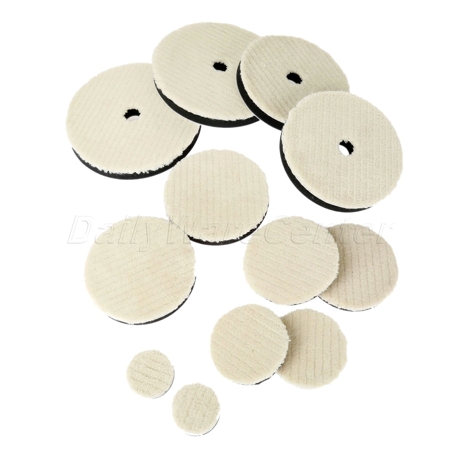 "2 x Car Care Woolen Polishing Pad 2/""//3/""//4/""//5/""//5/""//7/"" Cleaning Waxing Buffing Kit"