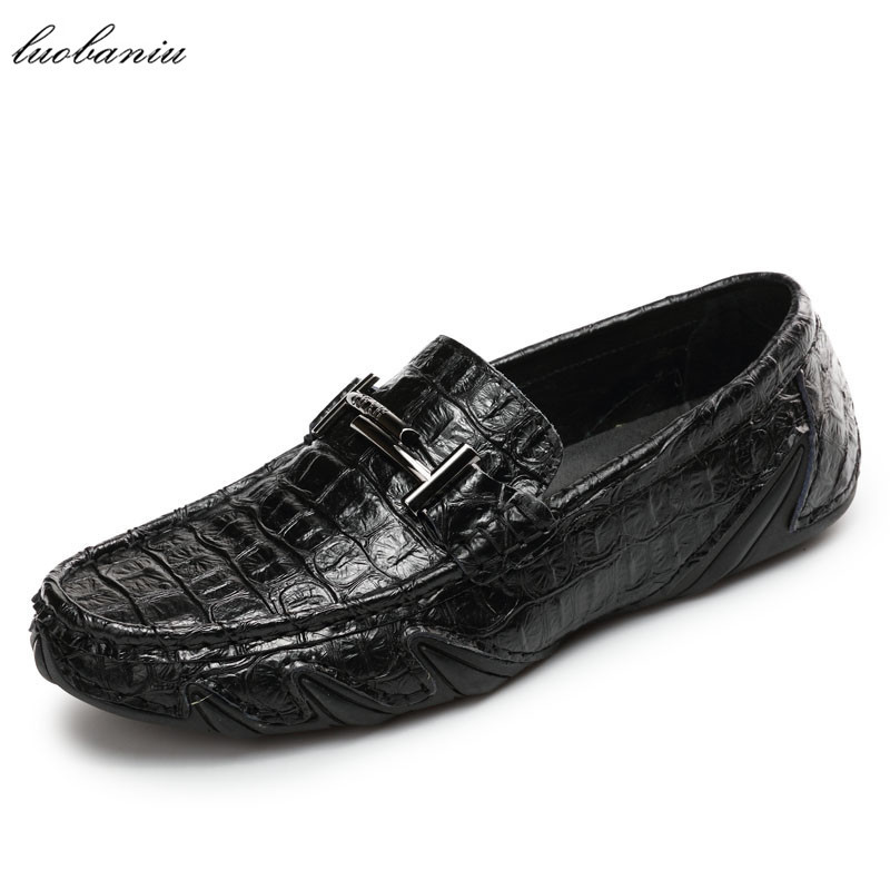 2017 Autumn Embossed Leather Men Shoes Casual Driving Moccasins Men Loafers Slip On branded men s penny loafes casual men s full grain leather emboss crocodile boat shoes slip on breathable moccasin driving shoes