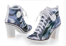Kaeve New Blue White Mesh Pumps Chunky Heel Shoes Casual Lace-up Woman Fashion Cross-tied