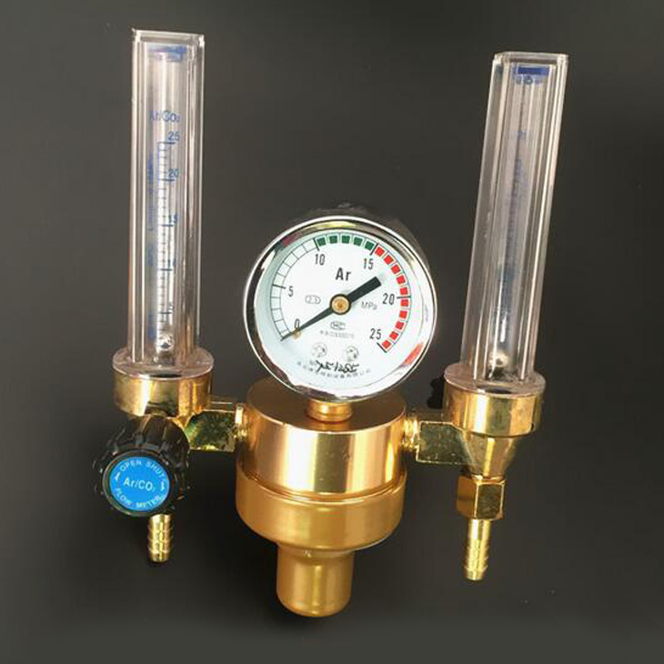 Argon Meter Dual HTP 0.15 MPA Mig Tig Flow Meter Gas Argon AR/CO2 Regulator Welding Weld high quality 1 4pt thread 7mm barb argon gas flow meter welding weld regulator 0 15 mpa