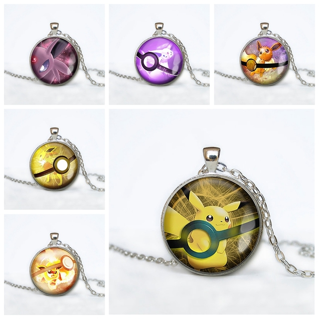 Eevee Evolution Pokeball Pendant Glass Dome Necklace Pokemon Jewelry  Fashion Poke Go Birthday Friendship Gift Badge