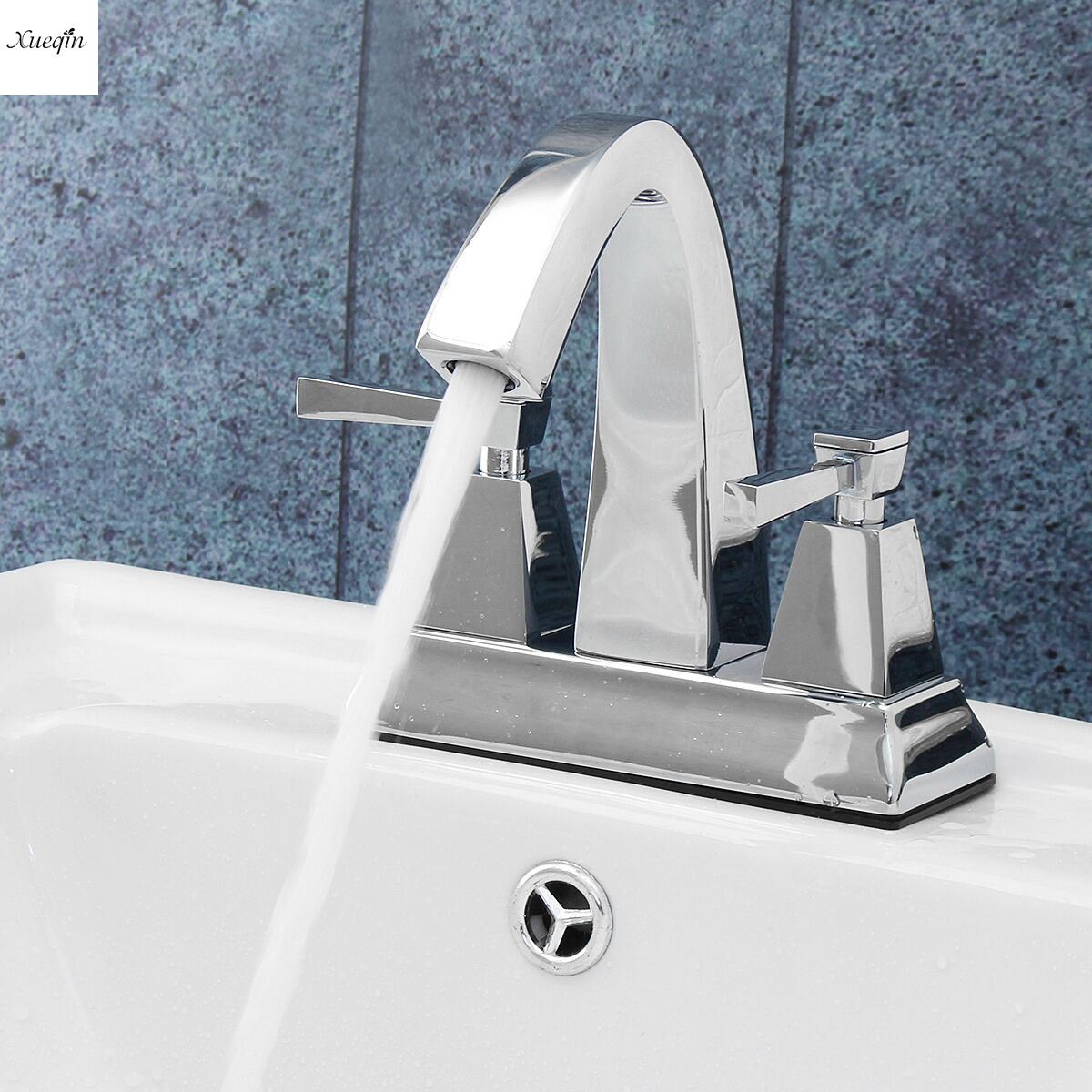 Luxury Brass Bathroom Basin Faucet Double Handle Two Holes Water Tap Chrome Deck Mounted Hot and Cold Water Sink Mixer Tap стоимость