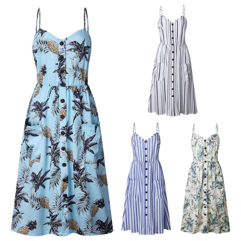 Sexy Casual Summer Dress Boho Beach Pockets Sundress Elegant Dess Long Dress