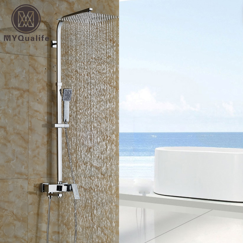 Chrome 8 10 12 Wall Mount Outdoor Rain Shower Faucet