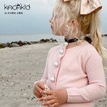 KACAKID Autumn Pearls Knitted Children Girl Jacket Coat Soft Woolen Bab