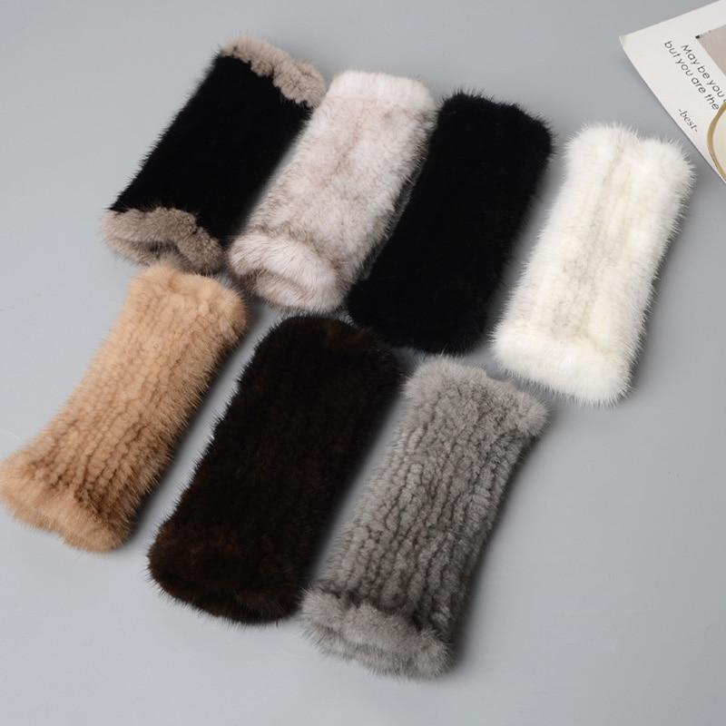 Glaforny Winter Mink Fur Gloves For Women Real Fur Gloves New  20CM Fashion Elasticity Genuine Glove Knitted Mink Fur Fingerless
