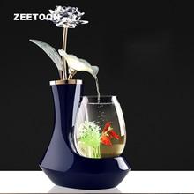 100-220V Ceramic Vase Flower Water Fountain Feng Shui Ornament LED Light Lucky Home Decor Art Air Humidifier Glass Fish Tank New