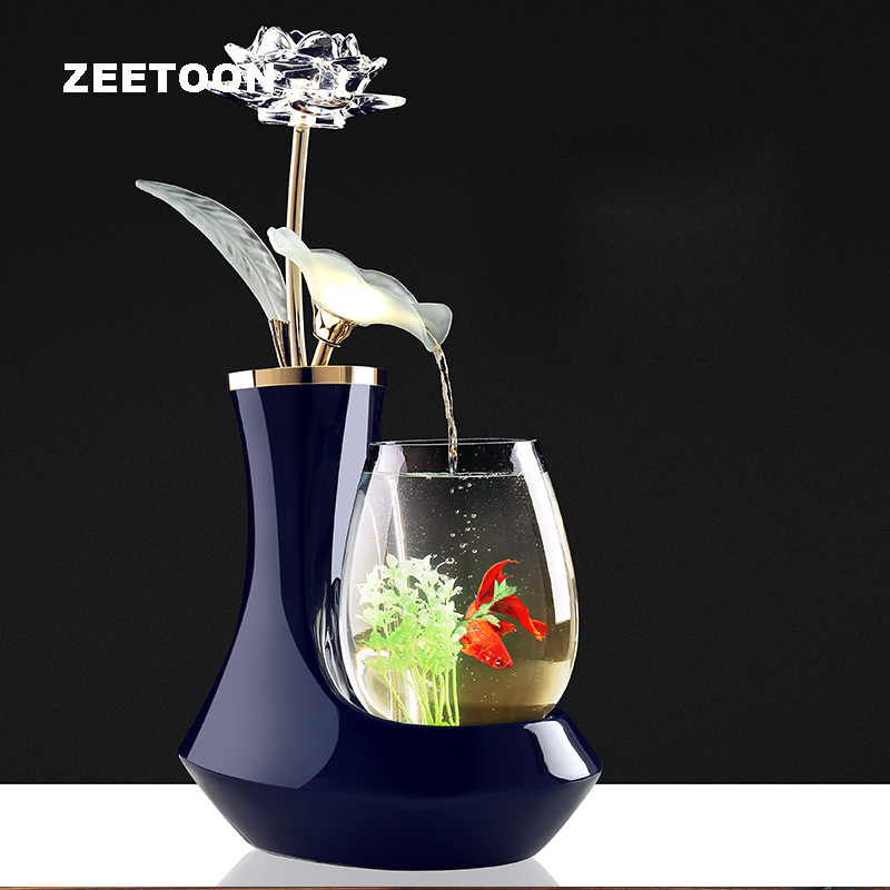 100 220V Ceramic Vase Flower Water Fountain Feng Shui Ornament LED Light Lucky Home Decor Art Air Humidifier Glass Fish Tank New