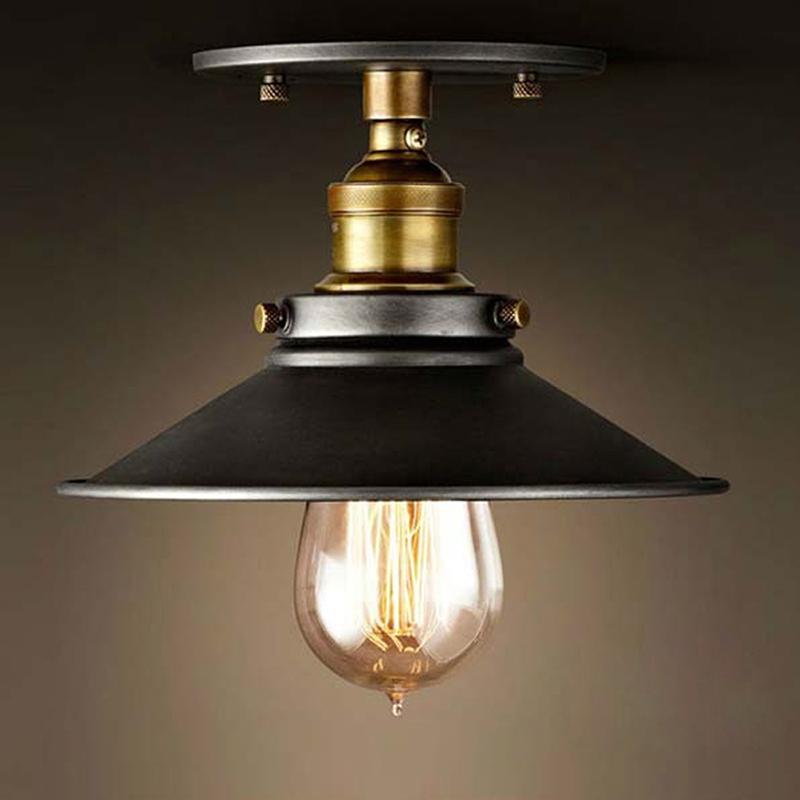 led lmpara de techo de diseo industrial loft vintage retro ronda luz de techo accesorio de