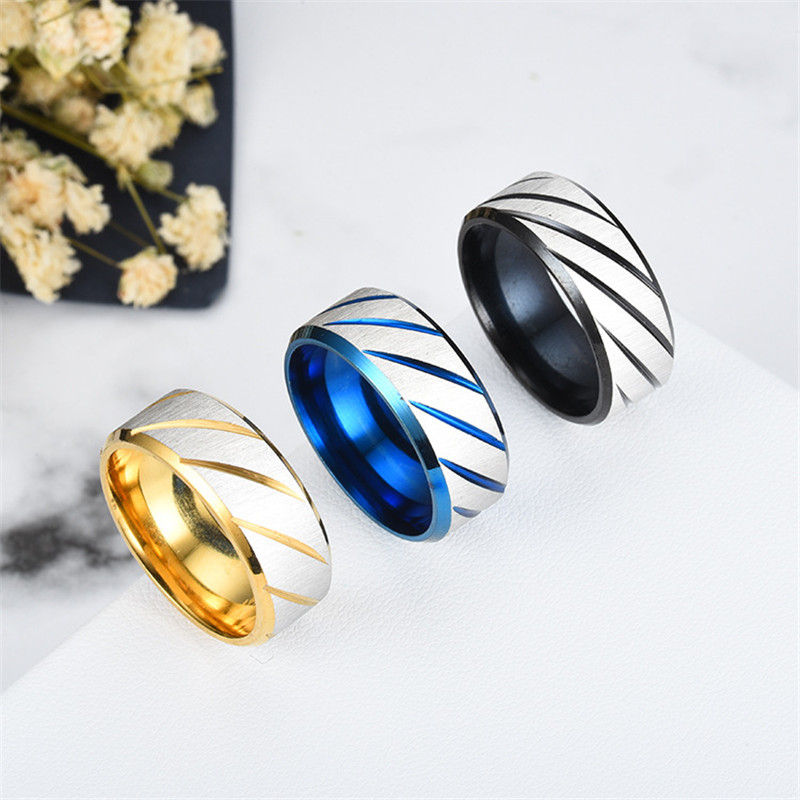 ZORCVENS 8mm Blue Fashion Lover's Wedding Rings 3 Colors Rings Stainless Steel Couple Engagement Rings for Woman 2
