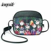 Aequeen модная женская сумка с принтом леса, индивидуальная мини сумка для камеры, сумка на плечо для девочек, кавайная кожаная сумка 2019