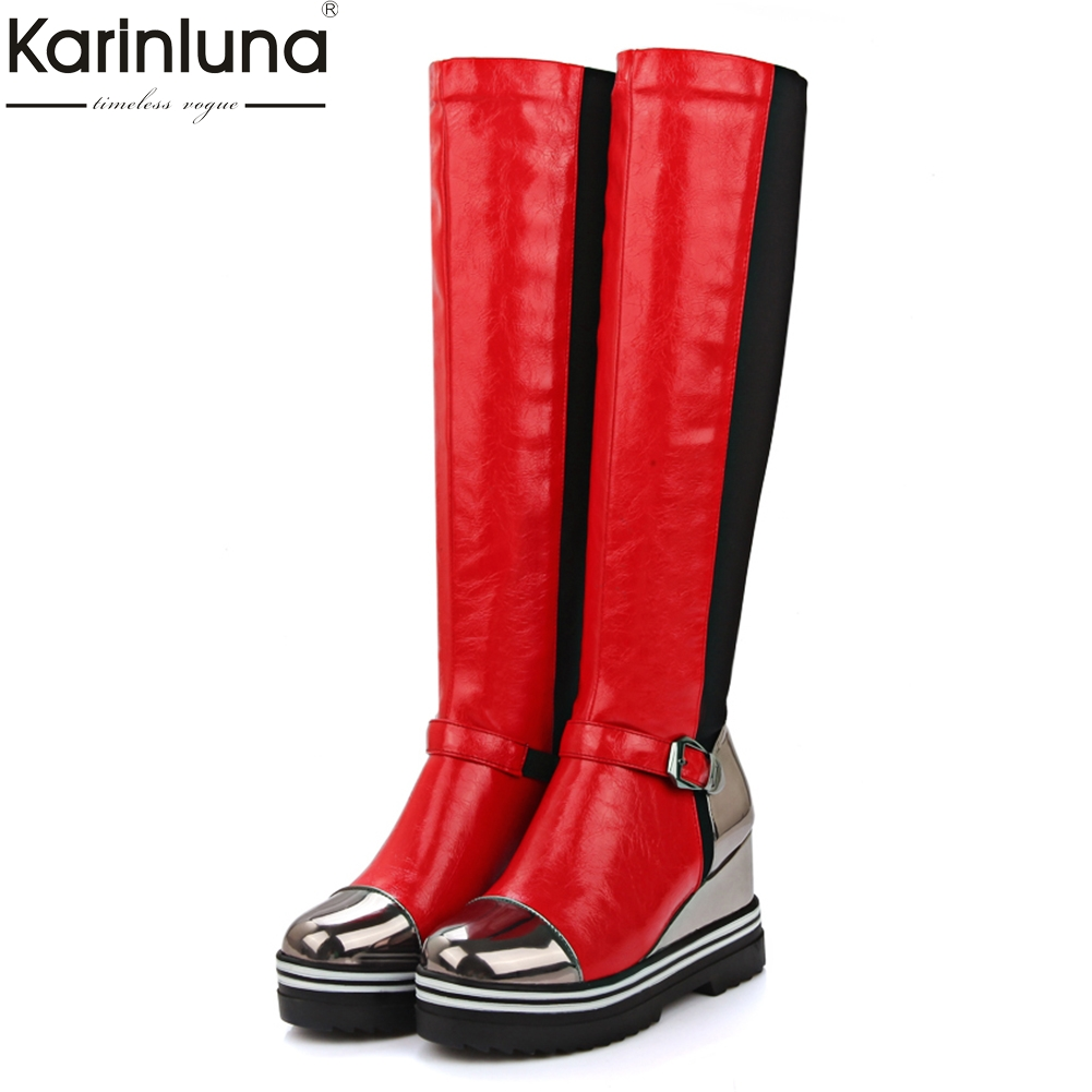 KARINLUNA talla grande 34 43 botas de moda zapatos de mujer botas de cuña de moda tacones altos invierno patchwork rodilla  botas altas-in Botas por la rodilla from zapatos on AliExpress - 11.11_Double 11_Singles' Day 1