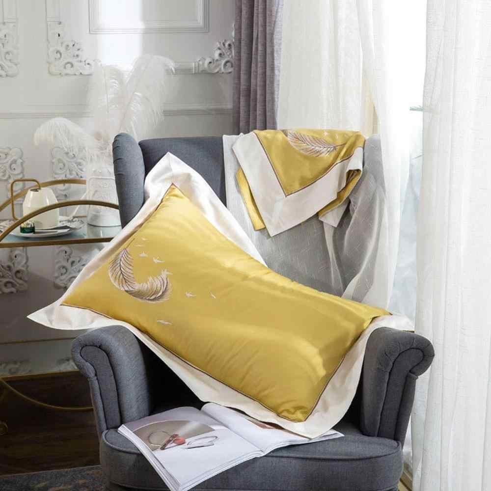 2019 Роскошный Золотой Желтый комплект постельного белья с вышивкой из египетского хлопка постельное белье размера Queen King size Пододеяльник Набор наволочек