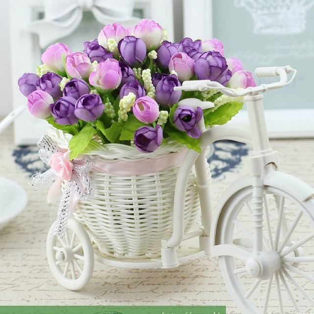 11 Kinds Style Rattan Vase + Flowers Meters Spring Scenery Rose Artificial  Flower Set Home Decoration Birthday Gift