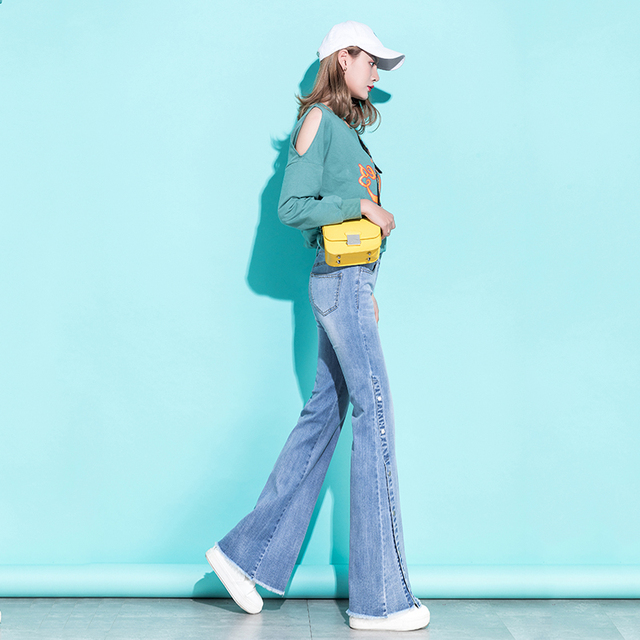 Bell Bottom Jeans Women High Waist Denim Wide Leg Jeans Frayed Edge Fashion Streetwear High Street Palazzo Flare Jeans Trousers 4