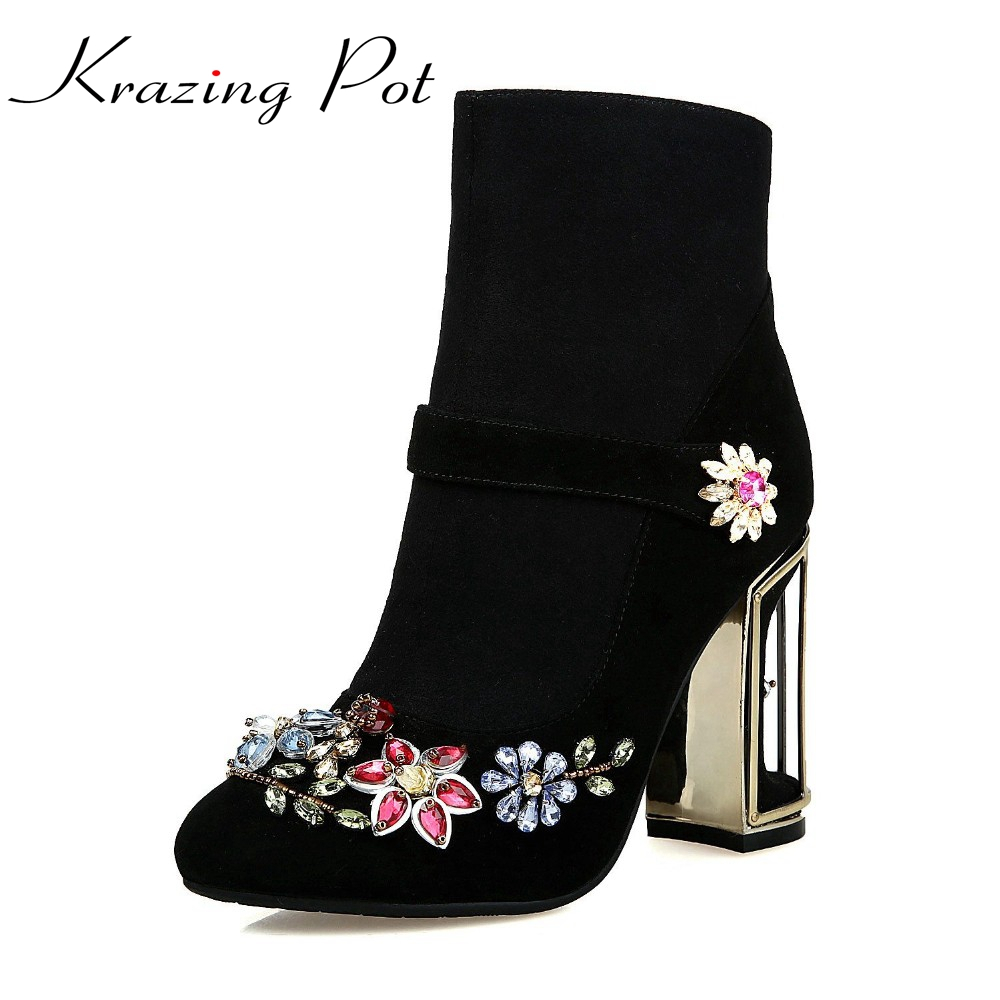 2017 fashion brand winter shoes hollow thick heel Luxury diamond women ankle boots round toe flower crystal Chelsea boots L91 shiningthrough 2018 round toe cow leather solid nude women ankle boots thick heel brand women shoes causal motorcycles boots
