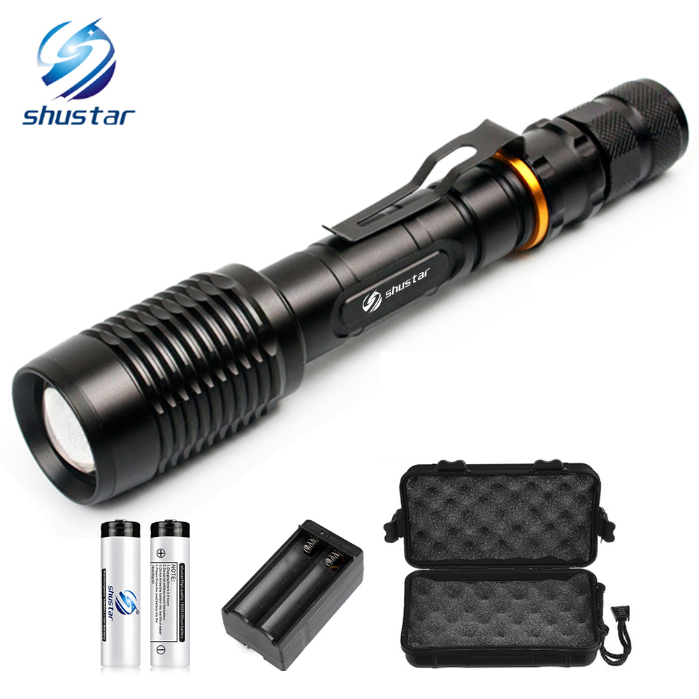 Super bright LED Flashlights T6 L2 Torch waterproof zoomable led torch For 2x18650 batteries aluminum charger Gift box Free gift