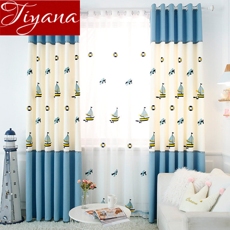 Sailboat Curtain for Boys Kids Room Cartoon Blackout Window Bedroom Blue Stitching Drapes Fabrics Treatment <font><b>T</b></font>&429#30 image