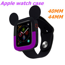 Cute two-color Cartoon Mickey Soft Silicone Watch Case For Apple 44/40mm Protective Iwatch Series 4