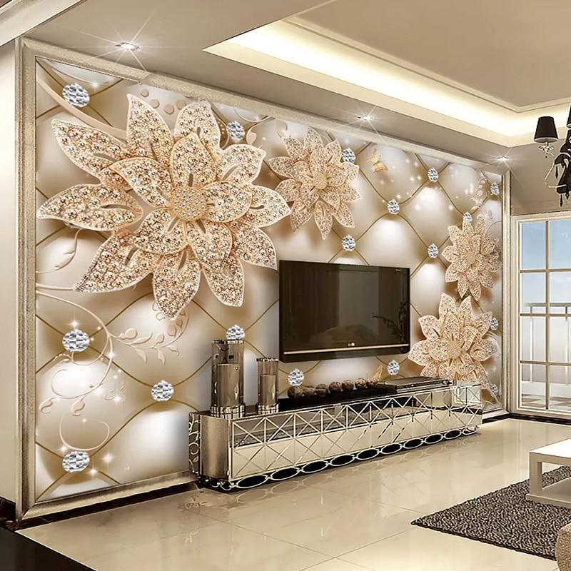 Papel tapiz fotográfico de estilo europeo 3D, diamante, flor, joyería, murales, sala de estar, TV, sofá, papel de pared para paredes, frescos 3D