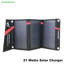 Portable Solar Panel PowerGreen 21 Watts SUNPOWER Solar Charger Mobile Phone Battery Backup Bag for Travelling