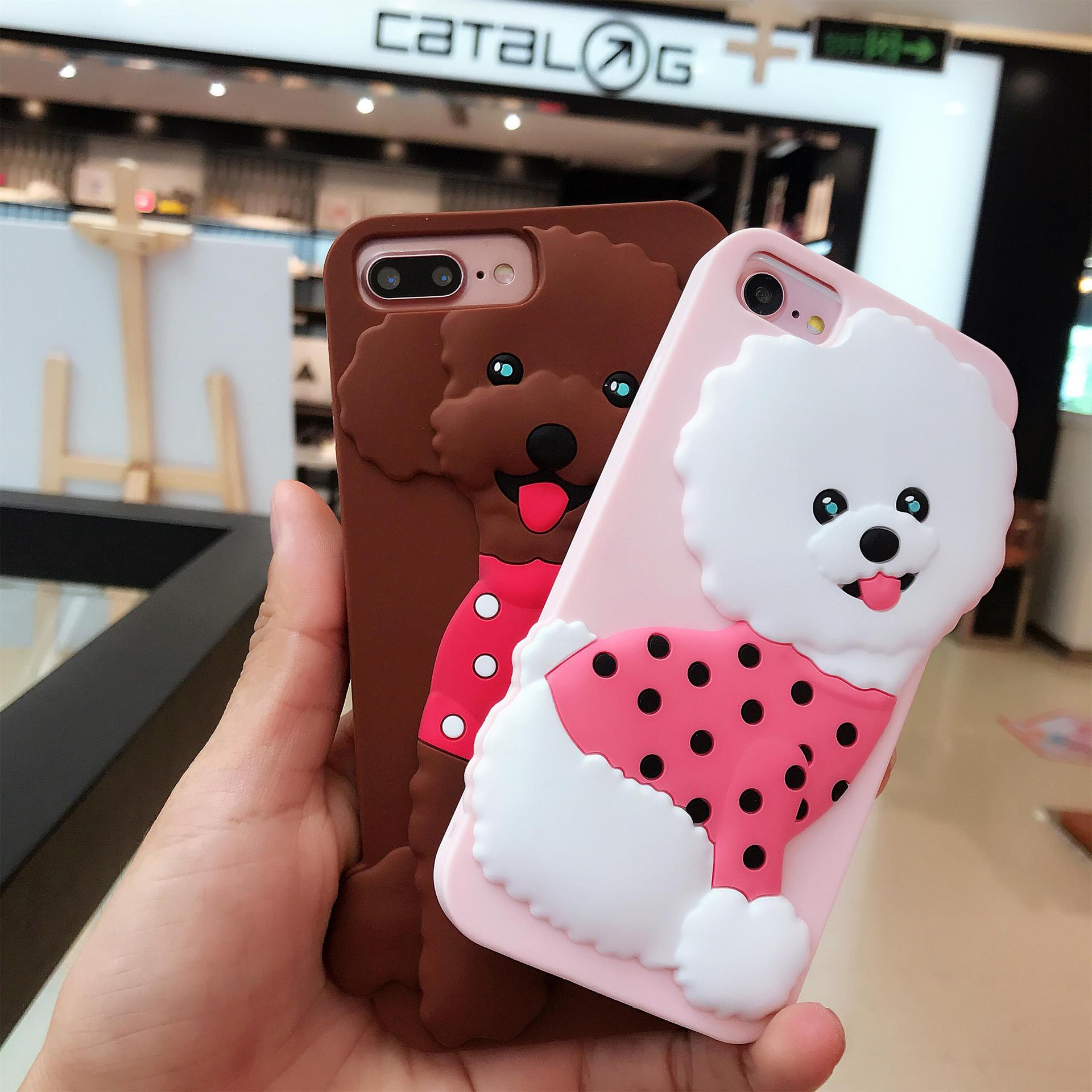 Funny 3D Teddy Dog Phone Case For iPhone 6S 7plus Case Silicone phone cover Cartoon Bear Cute soft shell coque funda Anti-knock