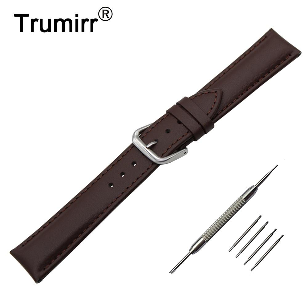 цена на Genuine Leather Watch Band 22mm for LG G Watch W100 / W110 / Urbane W150 Stainless Buckle Strap Wrist Belt Bracelet Black Brown