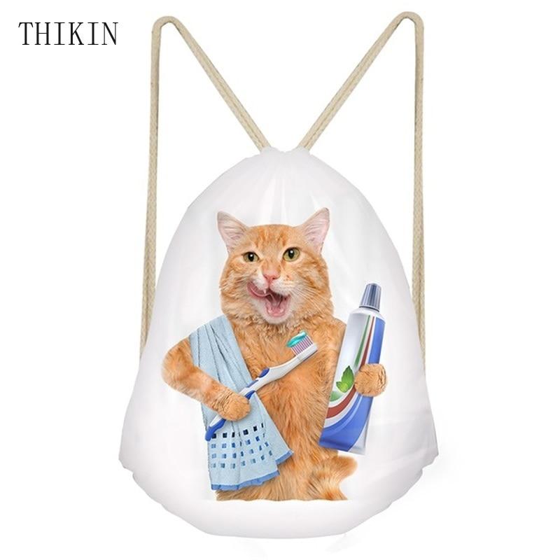 THIKIN 2019 Swimming Bag Funny Brushing/Sushi Cat/Kitten Print Draw-string Bag For Women String Backpack Girls Beach Bolsos