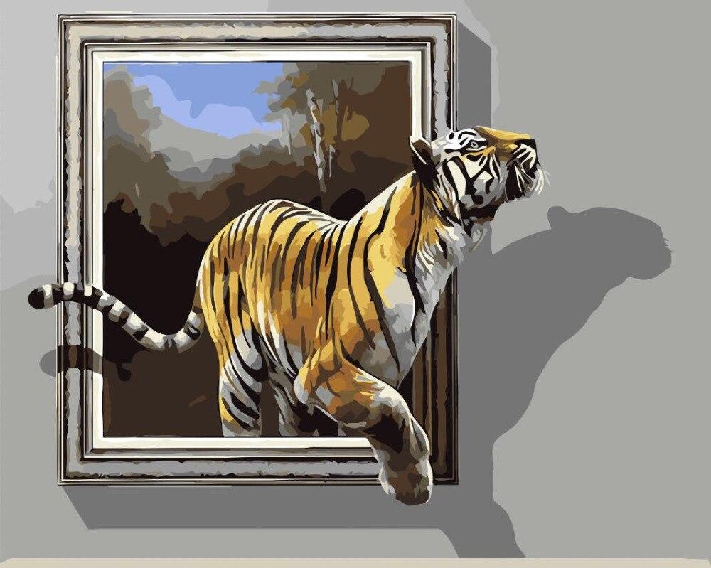 3D Tiger Lukisan Gambar Manusia Hidup Jendela Cat Dengan Nomor Digital Gambar Mewarnai Unik Hadiah Dekorasi Kamar Dekorasi Rumah