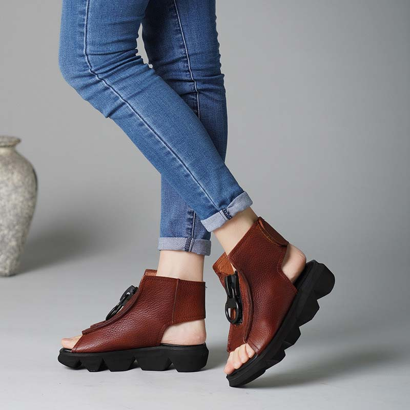2019 original personality ethnic style leather women s shoes sandals thick sandals handmade leather flat women