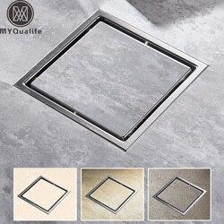 Tile Insert Square Floor Waste Grates Bathroom Shower Drain Floor Drain Antique Fltro Ducha Drain Hair Invisible