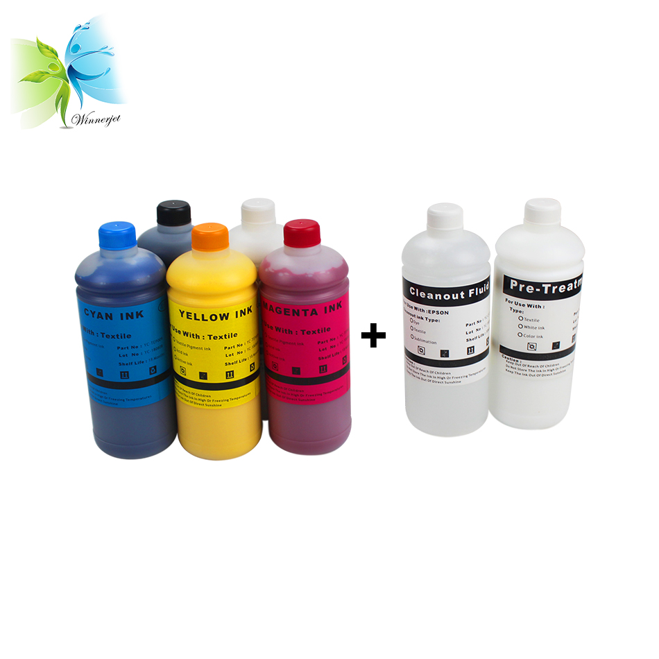 Winnerjet 1000ml COLOUR & WHITE TEXTILE INK, CLEANER & PREATRETMENT FOR <font><b>EPSON</b></font> DTG <font><b>PRINTERS</b></font> image