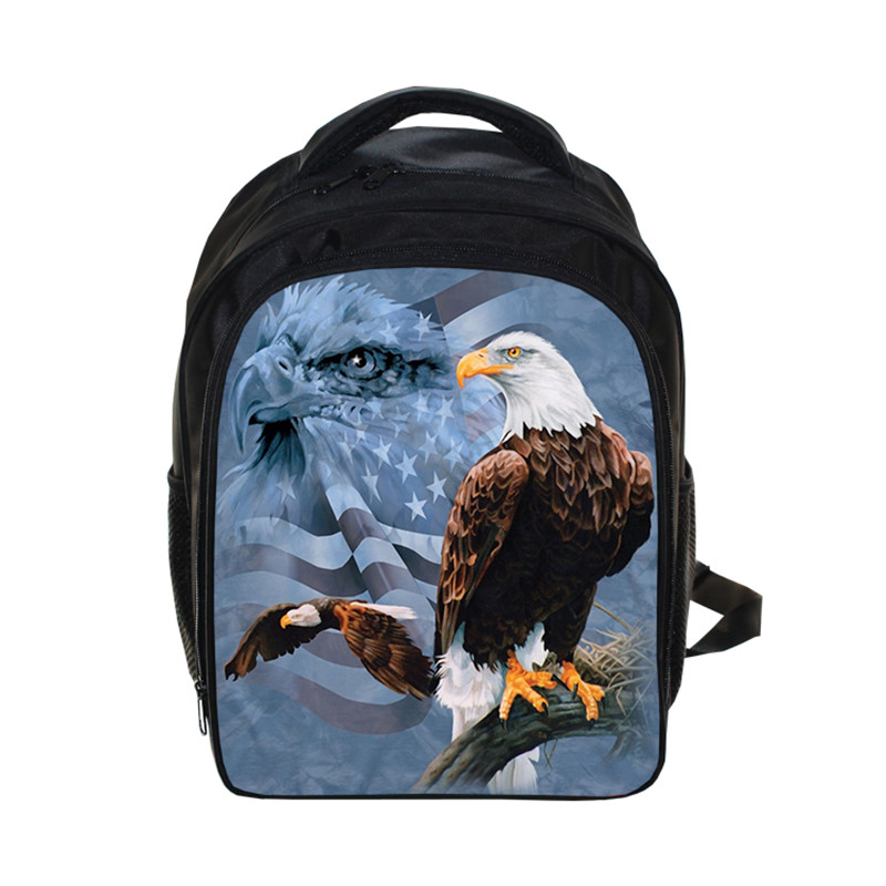 3D Owl / Eagle Print Backpack School Bags For Teenagers Kindergarten Boys Bags Mochila De Lona Waterproof Backpacks Kids 13 Inch