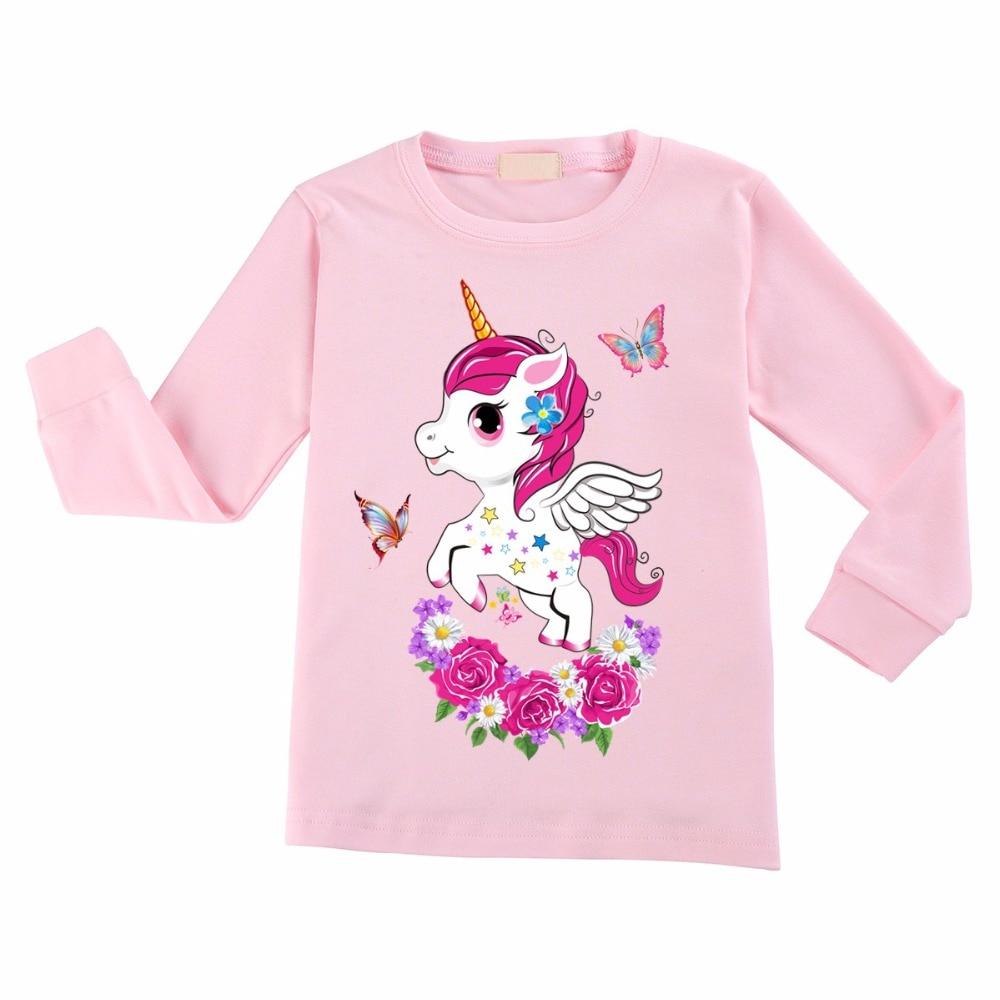 139e2b1d681 Flamingo Unicorn Print T-shirt Long Sleeve Kids Children Clothes Spring  Autumn Tops 10