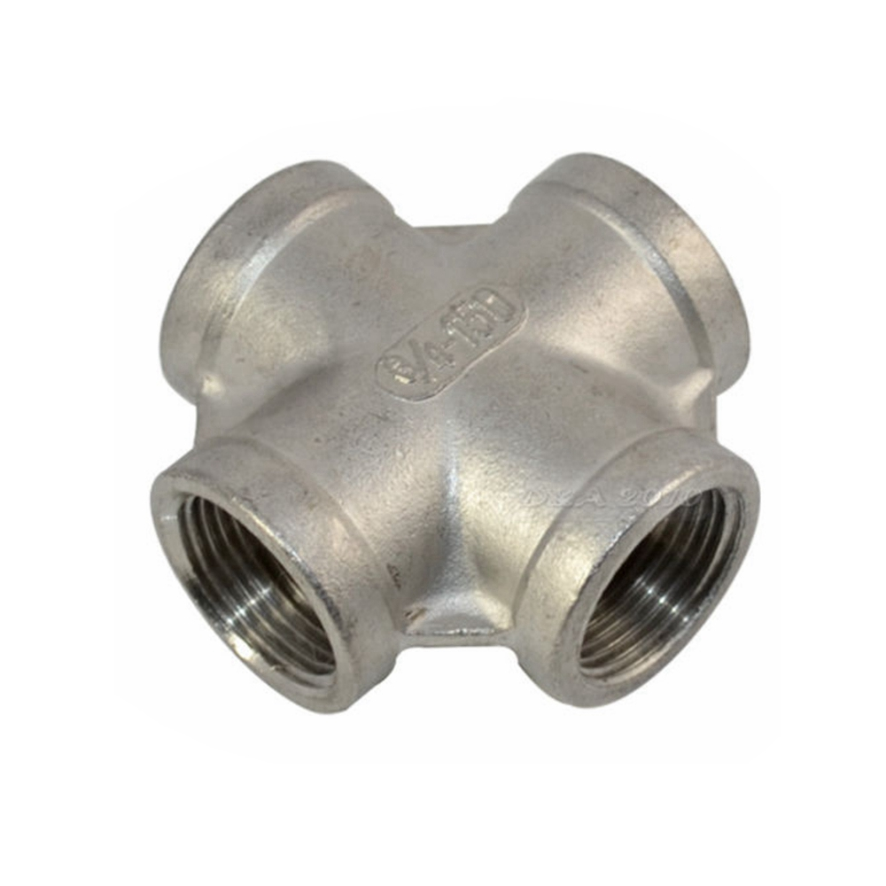 Thread 4 Way Female Cross Coupling Connector SS 304 Pipe Fitting BSP