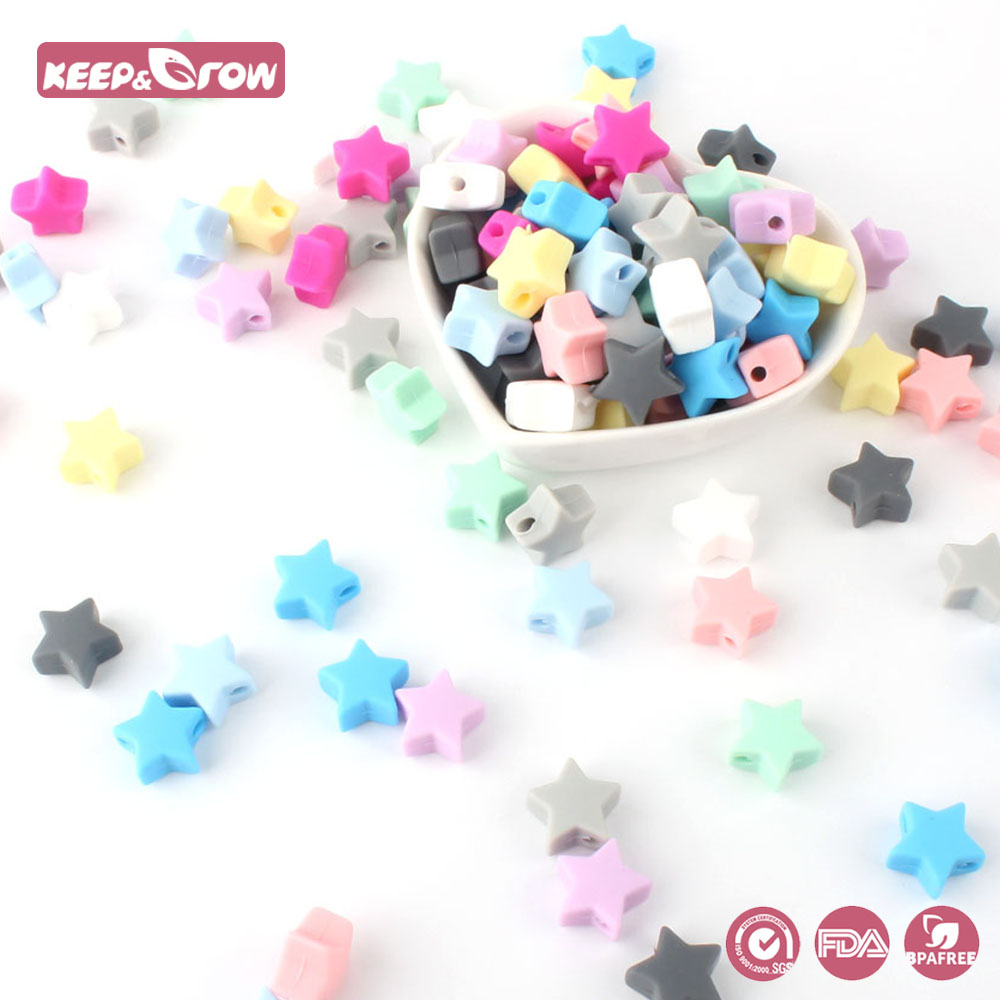 Keep&Grow 10pcs Silicone Star Beads BPA Free Baby Teething Beads Chewable Silicone Teethers Infants Nursing Nipple Chain Tools