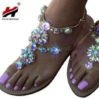 Plus Size 34 47 Bohemian Women Sandal Flat Heel Sandalias Flip Flops Sapatos Rhinestones Chains Thong