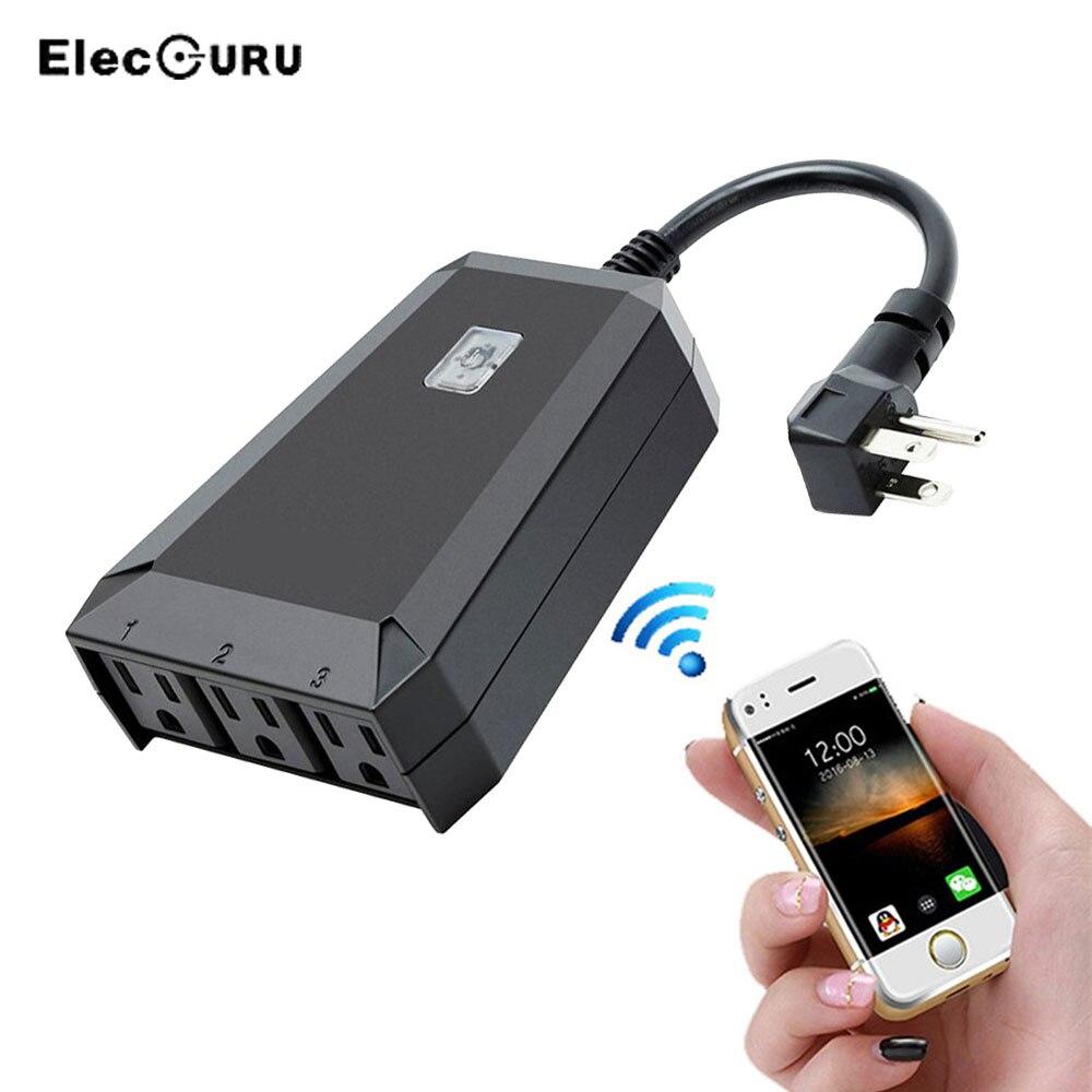 Prise de courant Wifi intelligente extérieure prise de courant télécommande sans fil interrupteurs prise d'intérieur pour iPhone Compatible avec Alexa/Echo