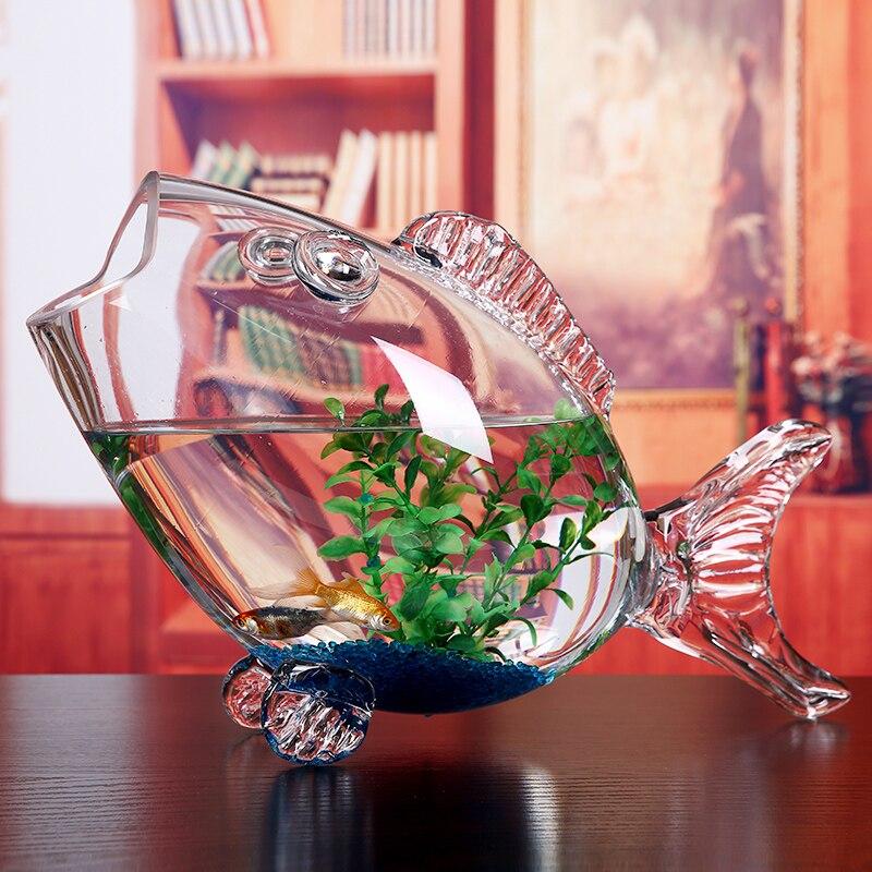 Bol en verre de poisson clair Transparent en verre en forme de poisson Aquarium réservoir de poisson en verre maison salon bureau artisanat ornements - 2