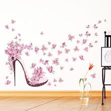 Fashion High Heel Shoes Flying Butterflies Heart Flower Wall