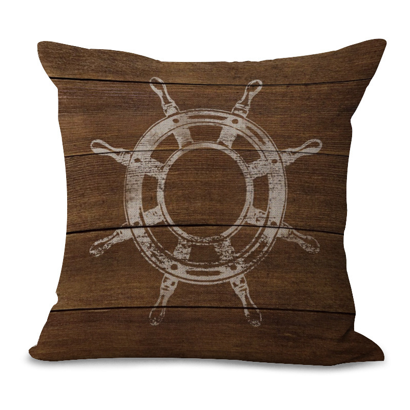 Retro Mediterranean Style Cushion Cover Anchor Boat ocean Marine Linen Throw Pillow Case Home Decorative Pillowcase
