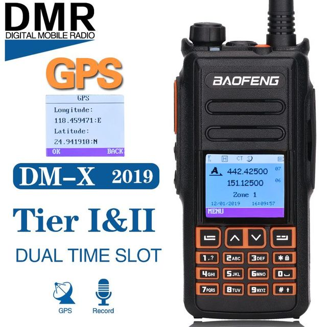 BaoFeng DM X DMR GPS Registro Digital Walkie Talkie VHF UHF Dupla Dand 136 174 & 400 470MHz dual Time Slot Para Ham Rádio em Dois Sentidos