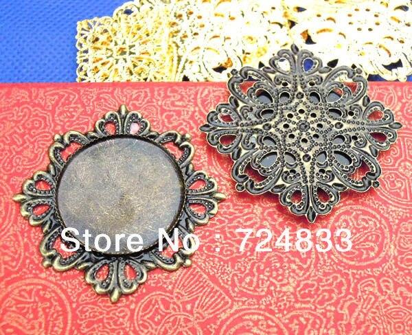25 мм Бланк Подвесные Основы Филигрань Цветок Круглый рамка Лотки Инструменты для наращивания волос кулон Настройки Выводы