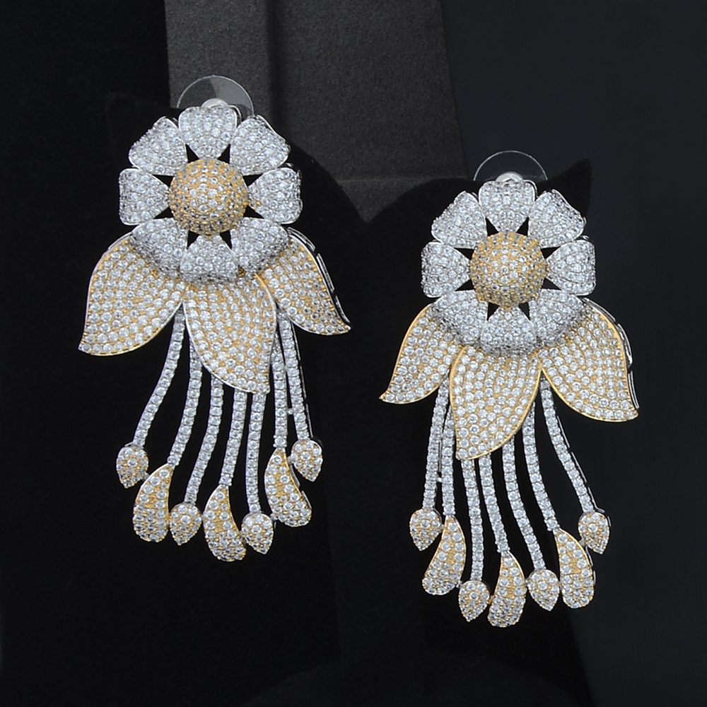 SisCathy 4PCS Cubic Zircon CZ African Indian Dubai Bridal Wedding Jewelry Sets Luxury Flower Cluster Jewelry Sets For Women in Jewelry Sets from Jewelry Accessories