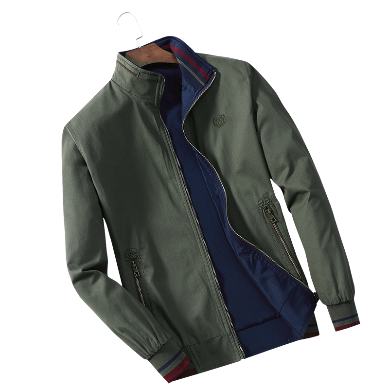 Men's Jackets, Spring And Autumn Vertical Collars, Plain Cotton Jackets On Both Sides, Men's Casual Men's Thin Coats